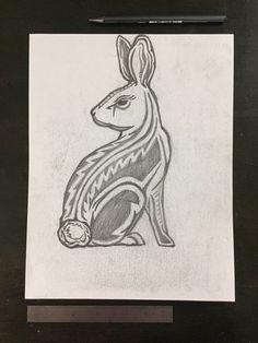 "Original drawing #090 - Rabbit $100.00  8.5"" x 11 Original graphite drawing on paper"