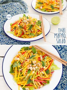Easy and refreshing #Thai-inspired #mango #salad. It has a nice mix of contrasting flavours and textures. It's also #vegan and #glutenfree