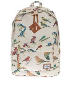 Cream Woodlands Bird Print Rucksack, Herschel. Shop more men's bags from the Herschel collection online at Liberty.co.uk