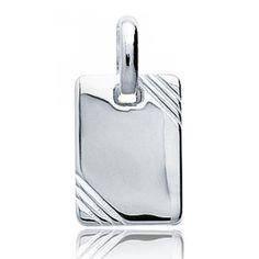 Silver pendant rectangle liseret - Bijoux Paris