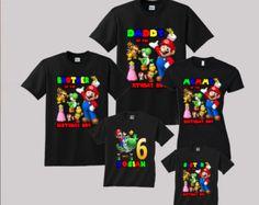 Camiseta de cumpleaños de SUPER MARIO para adultos  Super