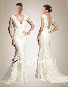 Beautiful Awesome V-neck Mermaid Lace Wedding Dress