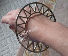 Sun Burst Geometric Triangle Cuff Bracelet Celestial Abstract Armor Silver Statement Zig Zag Bangle