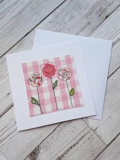 This pretty original textile greeting card was designed and manufactured by me. The textile artwork Freehand Machine Embroidery, Machine Embroidery Projects, Free Machine Embroidery, Embroidery Software, Embroidery Cards, Free Motion Embroidery, Free Motion Quilting, Embroidery Ideas, Embroidery Thread