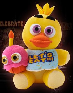 The chica plush! Bright yellow with bib, and a magnetic pink cupcake!