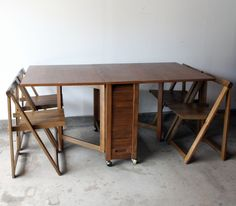Amazing! Gateleg table with chairs hidden inside | let_me ...