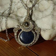 LAPIS LAZULI Silver filled Healing Pendant / Wire Wrapped pendant / wire wrapped jewelry / Healing Pendant / Bohemian jewelry / Steampunk by GemOfHarmony on Etsy