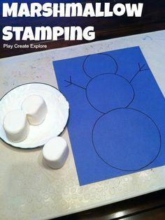 Marshmallow Stamping snowman!