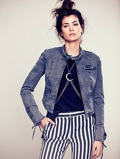 Free People Lace Up Twill Jacket - medieval blue