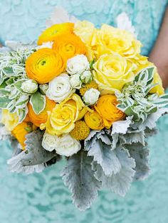 Let your ranunculus bouquet be the golden touch of your wedding day, mixed with yellow craspedia and dusty miller for the picture perfect bouquet.