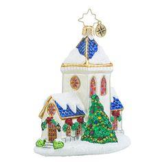 Christopher Radko Blessed Tiding Church Glass Christmas Ornament