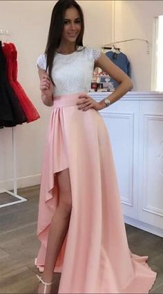 Simple A-Line Cap Sleeves Pink Prom Dress,Lace #prom #promdress #dress #eveningdress #evening #fashion #love #shopping #art #dress #women #mermaid #SEXY #SexyGirl #PromDresses