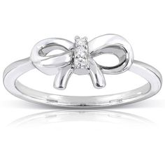 Diamond Accented Bow Ring in 10k White Gold (13,085 INR) ❤ liked on Polyvore featuring jewelry, rings, accessories, bow ring, three stone white gold ring, diamond accent rings, white gold jewellery and bow jewelry
