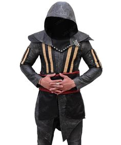 Assassin's Creed Aguilar Hoodie Cosplay Costume Coat - Men Assassins Creed Costume, Hoodie Outfit, You Look Like, Michael Fassbender, Leather Material, Leather Fashion, Real Leather, Cosplay Costumes, Assassin's Creed