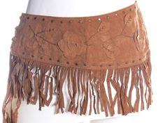 Women Ladies Vintage Gold Studs Leather Belt w/ Bloom Floral Flower & Leaves