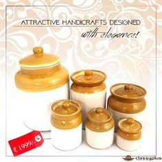 Add traditional look to your kitchenware collection with this brown and white shaded multi-purpose storage container. #Handicrafts #Classyplus #OnlineShopping #Gifts https://goo.gl/8ZOFBL