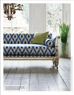 Indigo Blue and white upholstery fabric