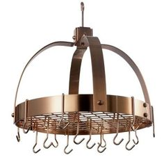Old Dutch 20 in. x 15.25 in. x 21 in. Dome Satin Copper Pot Rack with Grid and 16 Hooks-102CP at The Home Depot