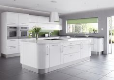 Shiny Modern Kitchen Design 2014 With White Gloss Island Kitchen Plus Drawer And Door On Grey Ceramic Tile Also High Cabinet For Double Microwave Near White Wall Cabinet Upstair Base Cabinet For Kitchen Sink: 32 Various Style Kitchen Design 2014