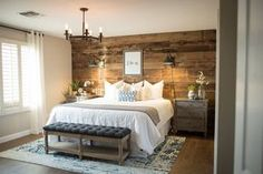 RUSTIC WALL / RECLAIMED WOOD / POTTERY BARN / MASTER BEDROOM / RUGS USA / NEUTRALS / TRANQUIL - Treasure in the Detail