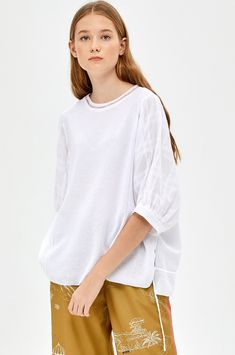 - Check pattern puff sleeve knit top- Cotton blend- Relaxed silhouette- See-through ribbed neckline- Slits at each side of hem- Inside string detailed back hemMeasurements- Length: Chest: Shoulder: Sleeve: Model's height Work Casual, Blouse Designs, Blouses For Women, Concept, Knitting, Sleeves, Mens Tops, Outfits, Style