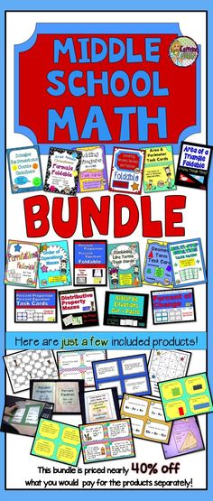 Middle School Math Bundle - includes 16 highly rated products! Check it out!