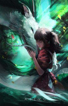 Hayao Miyazaki, Studio Ghibli Art, Studio Ghibli Movies, Studio Ghibli Spirited Away, Spirited Away Art, Chihiro Y Haku, Film Anime, Images Disney, Howls Moving Castle