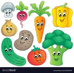 Vegetable theme collection 4 vector image on Anniversaire My Little Pony, Vegetable Crafts, Happy Fruit, Cute Fruit, School Decorations, Kids Education, School Projects, Classroom Decor, Preschool Activities
