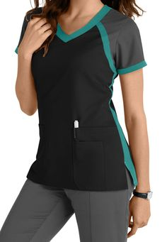 Greys Anatomy 3 Pocket Color Block V-neck Scrub Tops Main Image Scrubs Outfit, Scrubs Uniform, Cute Scrubs, Greys Anatomy Scrubs, Medical Scrubs, Nursing Scrubs, Medical Uniforms, Womens Scrubs, Peeling