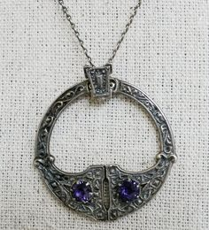 Vintage Silver Celtic Tara Pendant Necklace Glass Stone BAB Sterling Chain #NotSigned #Pendant