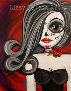 Day of the Dead, Big eye art, Lowbrow art by Lizzy Falcon. Sugar Skull art.