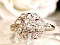 Heart Motif Art Deco Engagement Ring by LadyRoseVintageJewel