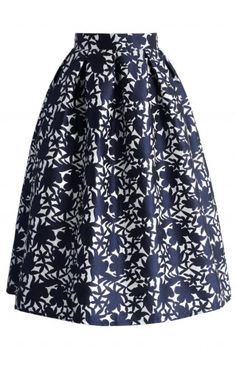 Navy Floral Embossed Midi Skirt - CHICWISH SKIRT COLLECTION - Skirt - Bottoms - Retro, Indie and Unique Fashion