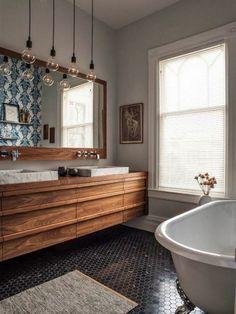 bathroom house floating basin wood