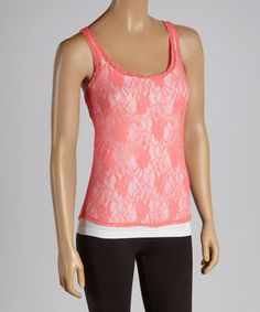 Another great find on #zulily! Neon Coral Lace Tank by POPULAR BASICS #zulilyfinds