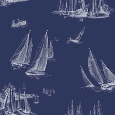 Sailboat Toile Wallpaper in Navy and White