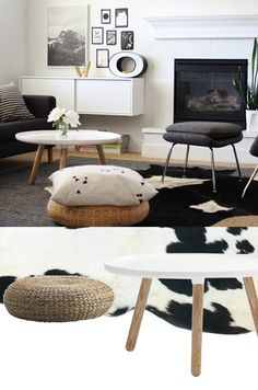un tapis peau de vache dans un int rieur blanc esprit ancienne grange. Black Bedroom Furniture Sets. Home Design Ideas