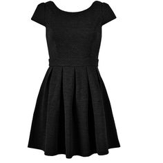 S SLEEVE SKATER DRESS IN TEXTURE ($30) ❤ liked on Polyvore