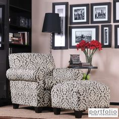 These upholstered arm chairs can offer you a stylish way to relax in any home or office environment. The stately gray medallion pattern of both the chair and attached ottoman will provide a distinctive air of class and style to the surrounding room.