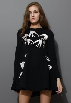 Swallow Embroidery Black Quilt Dress