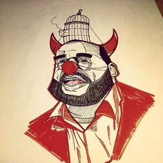 Dieud' #illustration #drawing #devil #Dieudonné #red #clown #artwork