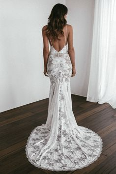 Grace Loves Lace Clo Gown with Nude Lining Spaghetti Strap Wedding Dress, Wedding Dresses With Straps, Wedding Dresses Photos, Lace Mermaid Wedding Dress, Dream Wedding Dresses, Lace Dresses, Bride Dresses, Spaghetti Straps, Making A Wedding Dress
