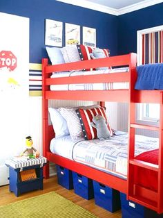 Red, White and Bunked - Stripes appear nearly everywhere in this happy shared bedroom -- walls, window, pillows, bedding, cushions, and even the bunk beds themselves. What a colorful idea for a shared bedroom! Discover more kids room decorating and organizing tips and ideas @ http://kidsroomdecorating.net