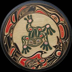 Salish Coastal native Basket designs | The frog: circled by the eagle, hummingbird, killer whale and bear.