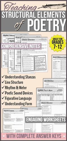 Comprehensive informational notes and detailed, engaging worksheets (with answer keys) for teaching structural elements of poetry.