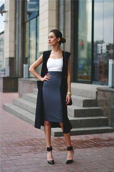 4 τρόποι για να φορέσεις με στιλ τη midi pencil φούστα σου - JoyTV Long Vest 8f9a742f43d