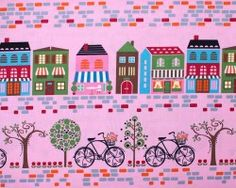 Border print. Bicycles and streetscape