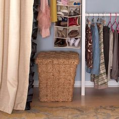 Keep a donation hamper in your closet. Every two weeks select an item of clothing you haven't worn in the past six months and throw it in. When the hamper is full, take it to a local charitable organization.