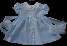 Vintage blue batiste baby day dress by Alfred Leon.
