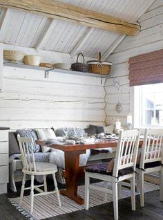Norwegian cabin kitchen, from dagbladet. FOTO: Per Erik Jæger Cozy Kitchen, Kitchen Corner, Scandinavian Cottage, Cottage Dining Rooms, Cabin Kitchens, Interior Design Inspiration, Cottage Style, Decoration, Teak